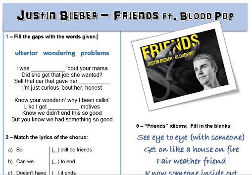Justin Bieber Friends ESL Worksheet